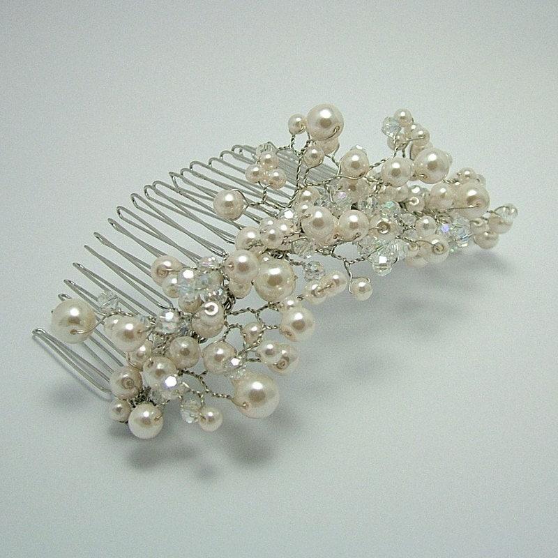 Crystal & Pearl Spray Hair Comb