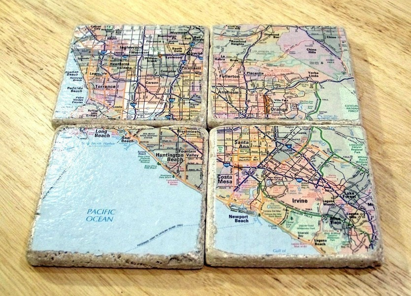 Vintage Map Coasters - Custom