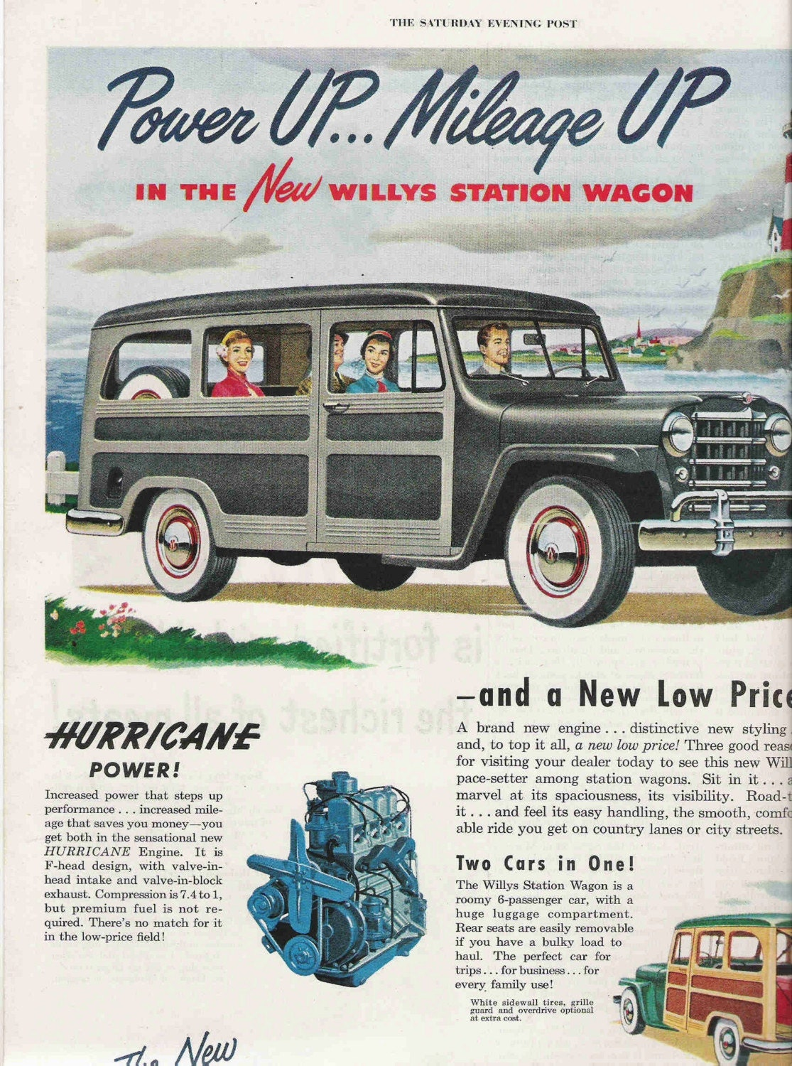 1950 Willys Car Ad, Station Wagon, Saturday Evening Post Magazine,