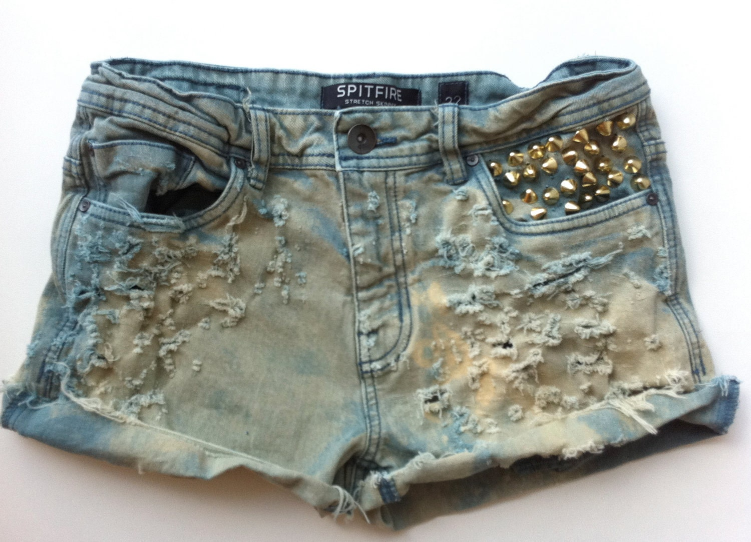 Colored Denim Vintage Studded and Distressed Shorts