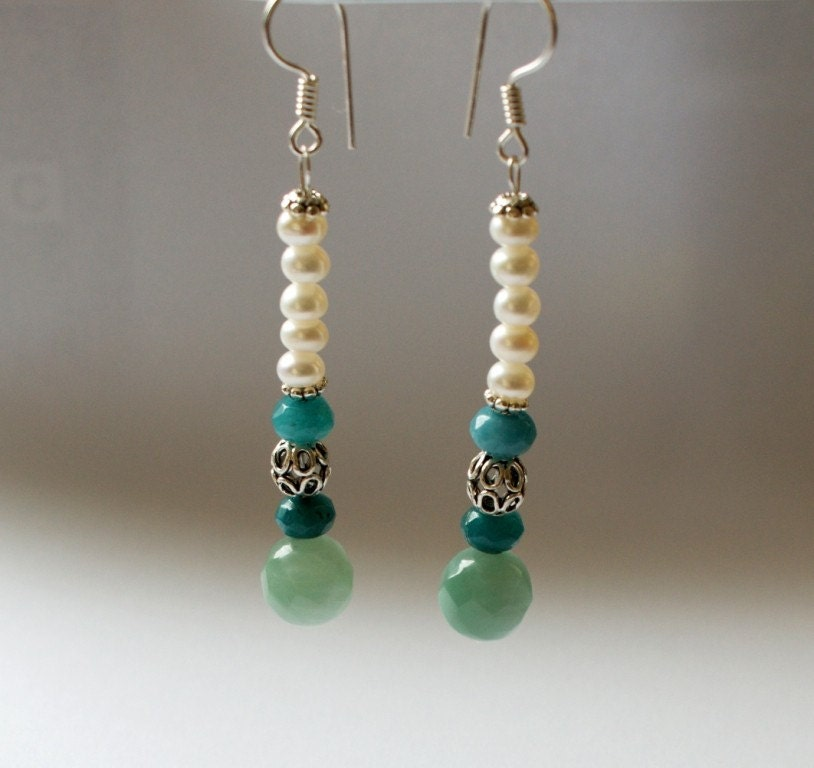 25 percent discounted price for Weekend Deals...GREEN GRAPES EARRINGS for weddings with pearls and green,turquoise green jade stones in sterling silver by ayawedding on Etsy from etsy.com