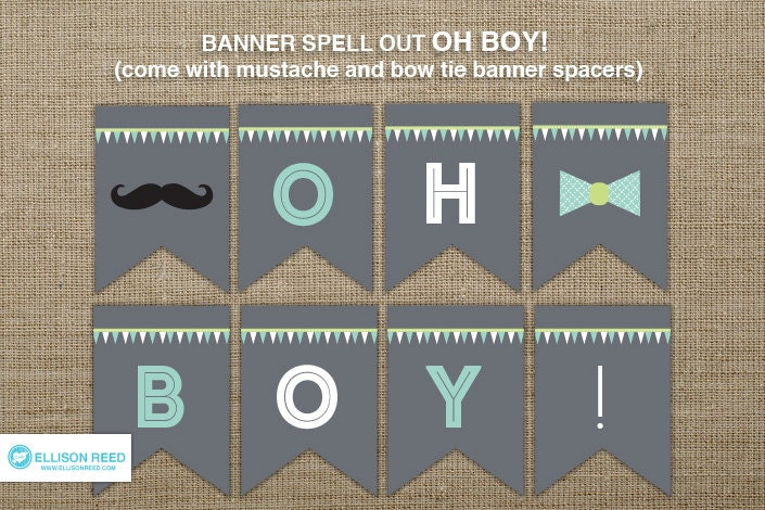 baby shower oh boy banner mustache printable mustache banner bow tie