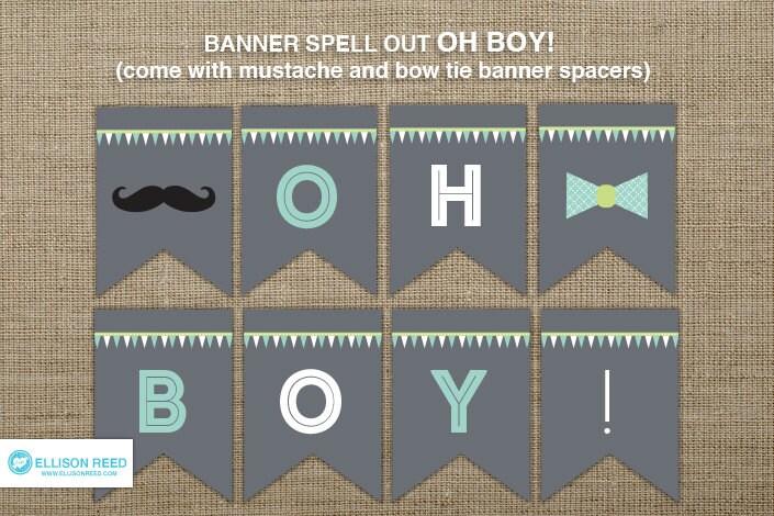 baby shower oh boy banner mustache printable mustache banner bow tie