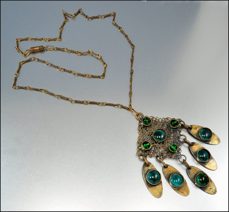 Vintage Brass Green Peacock Eye Glass Artisan Necklace