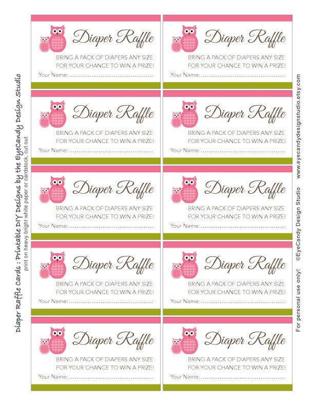 Printable Owl Diaper Raffle Tickets / Diaper Raffle Cards - EyeCandy ...