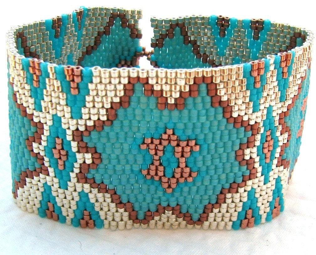 Cactus Blossom Peyote Cuff Bracelet (2291)