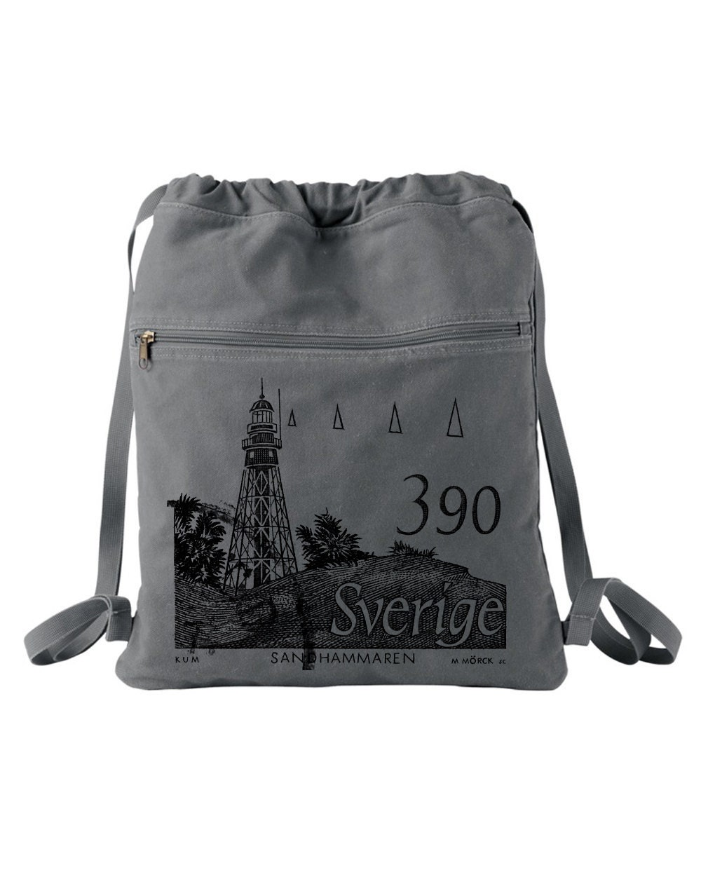 Sweden Lighthouse Stamp Circa 1989 - Screen Printed Drawstring Backpack - CrawlSpaceStudios