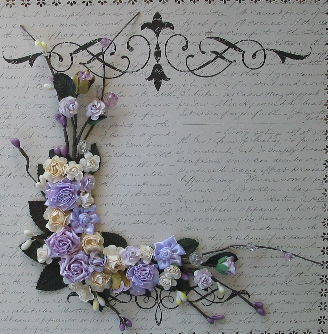 Lavender Beads and Berry Buds Corner Bouquet for Scrapbooking