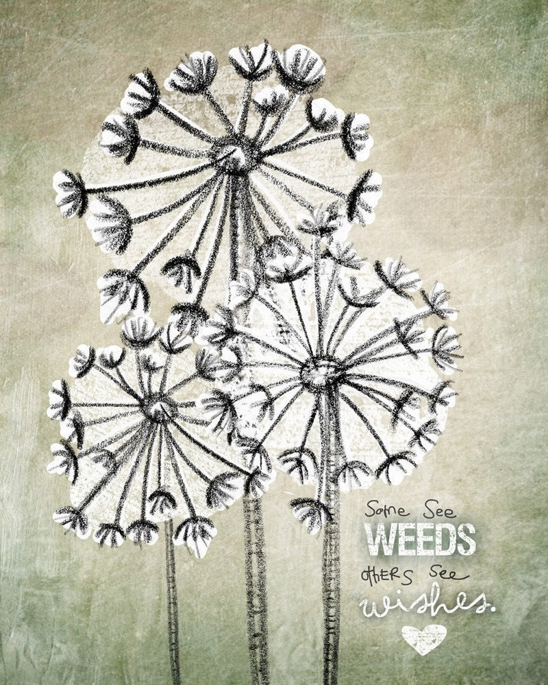"""""""Some see weeds, others see wishes."""" 
