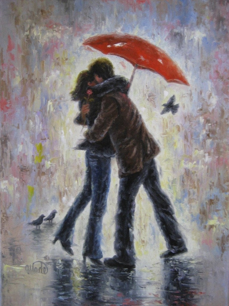 Kiss in the Rain 18X24 canvas giclee