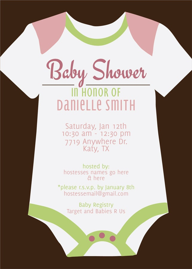 onesie baby shower invitation printable by kateogroup on etsy