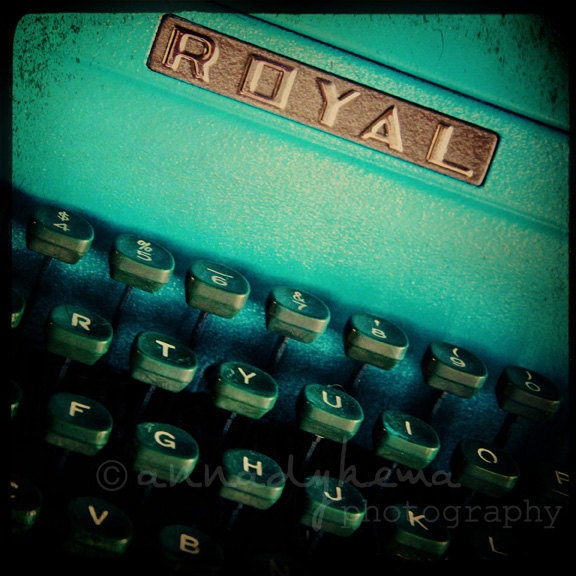 teal home office decor retro typewriter green ultramarine green - Royal -  Fine Art Photography Print - annadykema
