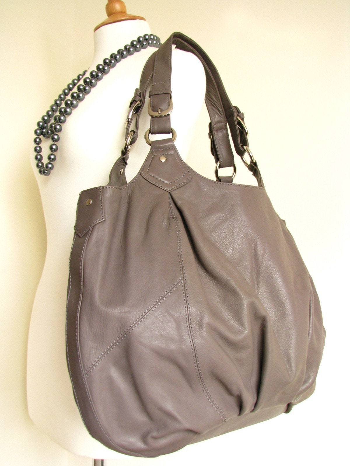 Large Grey Leather Slouchy Bag