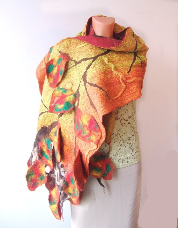 Nuno felted Scarf    Autumn leaves Yellow by galafilc on Etsy from etsy.com