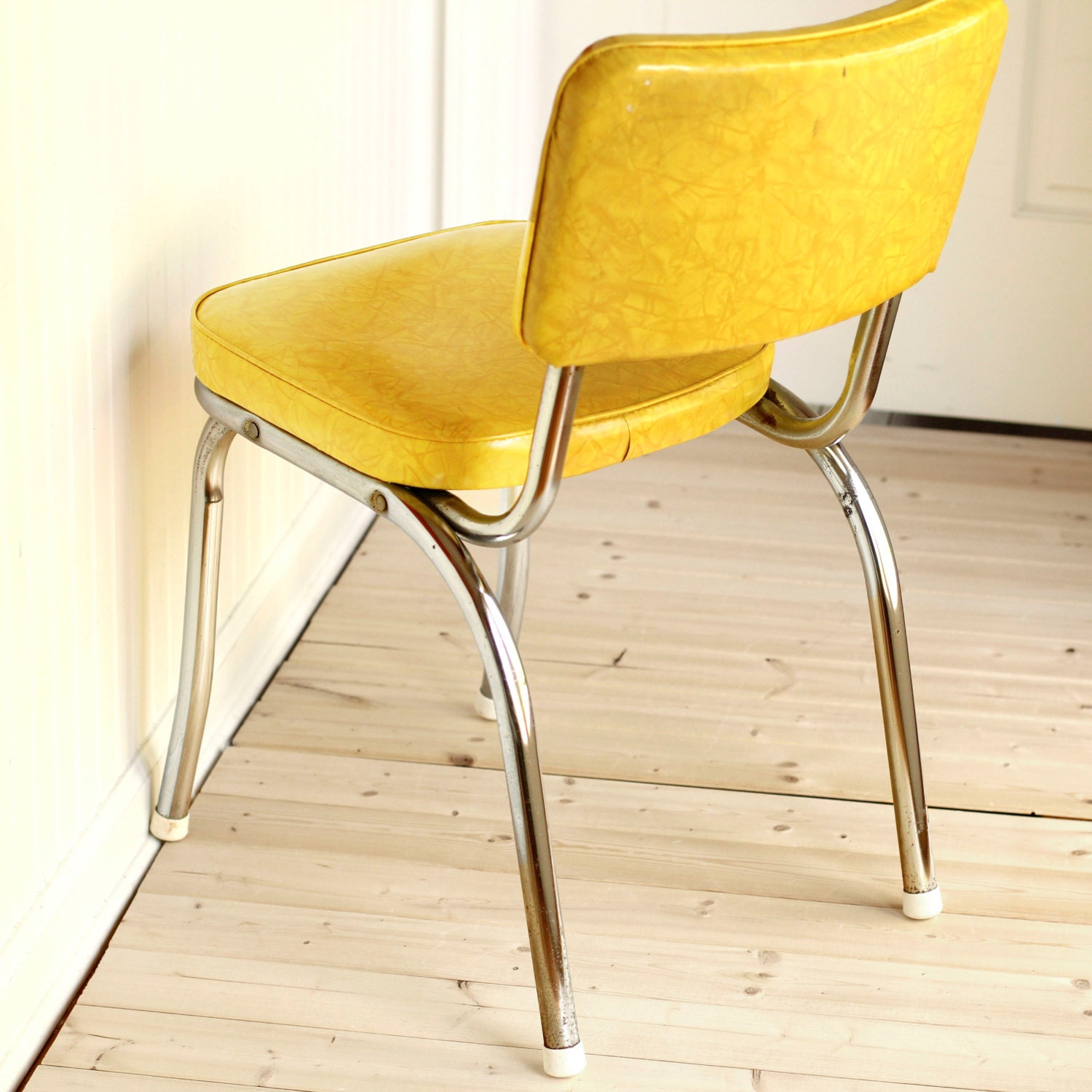 yellow and chrome kitchen dinette chair mid by thenellehouse
