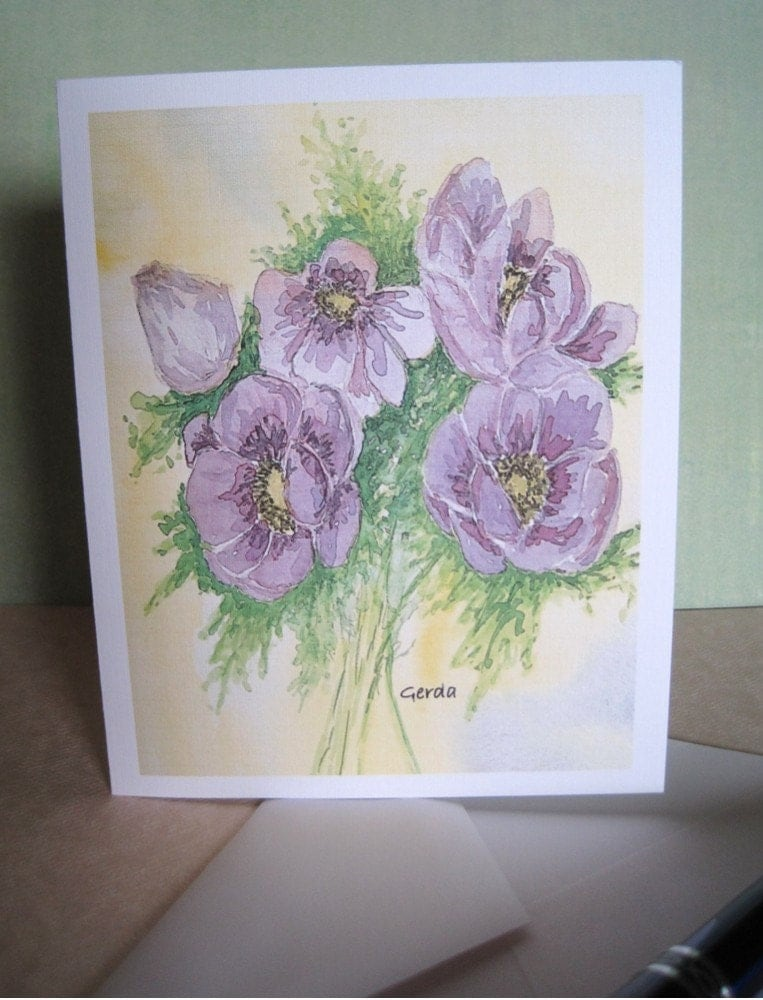 Purple Peonies watercolor card
