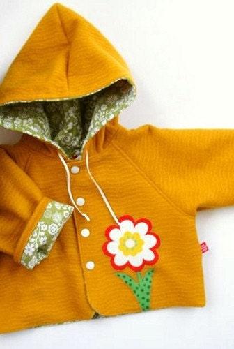 Woolen Mustard Daisy Hoodie - size 1y