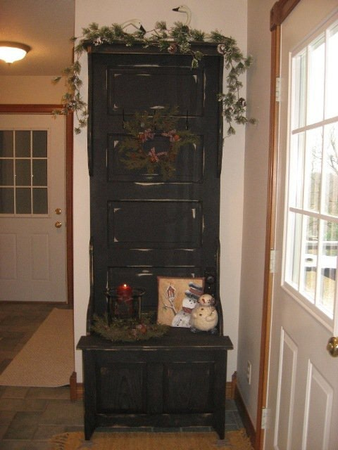 Antique door hall tree with storage bench by bonpasprimitives - Adding character to your hallway with a hall tree ...