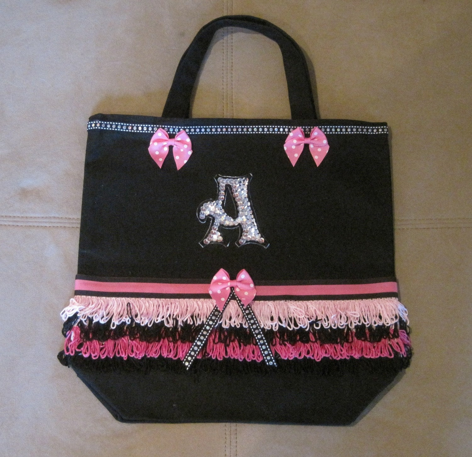 Personalized Pink Fringe Skirt Tote