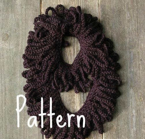 Crochet Scarf Pattern With Fringe : Crochet Pattern Loop Fringe Infinity Scarf PDF by ...