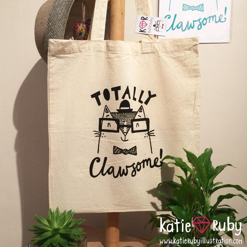 Totally Clawsome Screen Printed Tote Bag