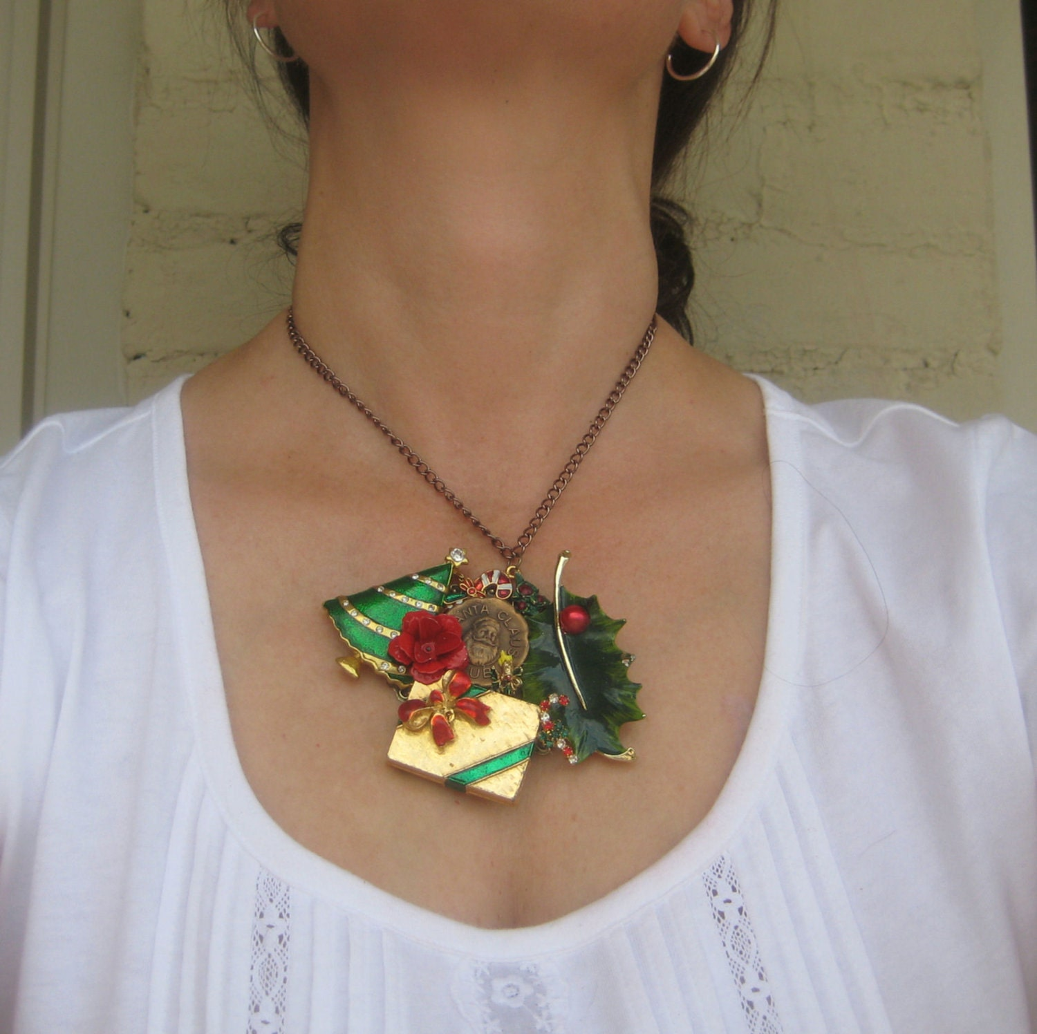 "Christmas Vintage Brooch Holiday Charm Necklace Collage Upcycled OOAK ""Santa Claus Club"""