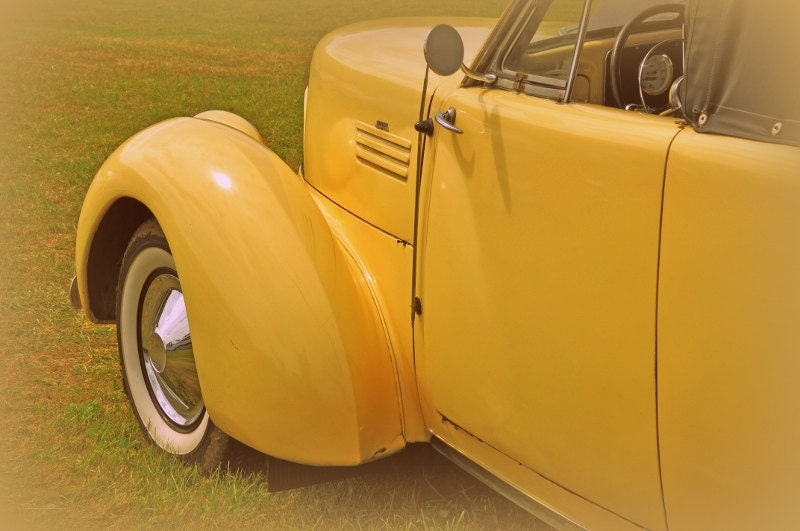 Yellow Vintage Car  5x7 Photograph - rbfphotos
