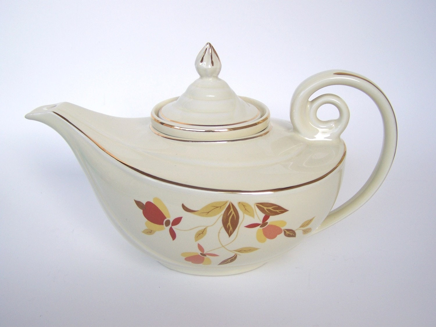 1940s Halls Superior Ceramic Flower And Leaves Teapot By