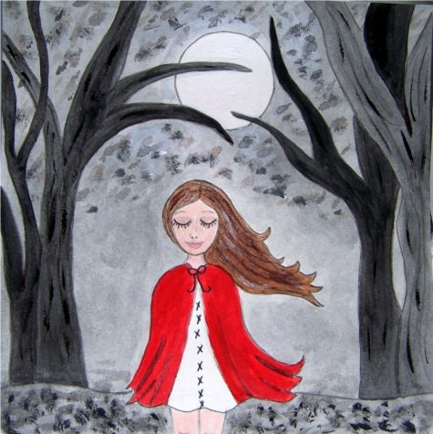 red riding hood painted art
