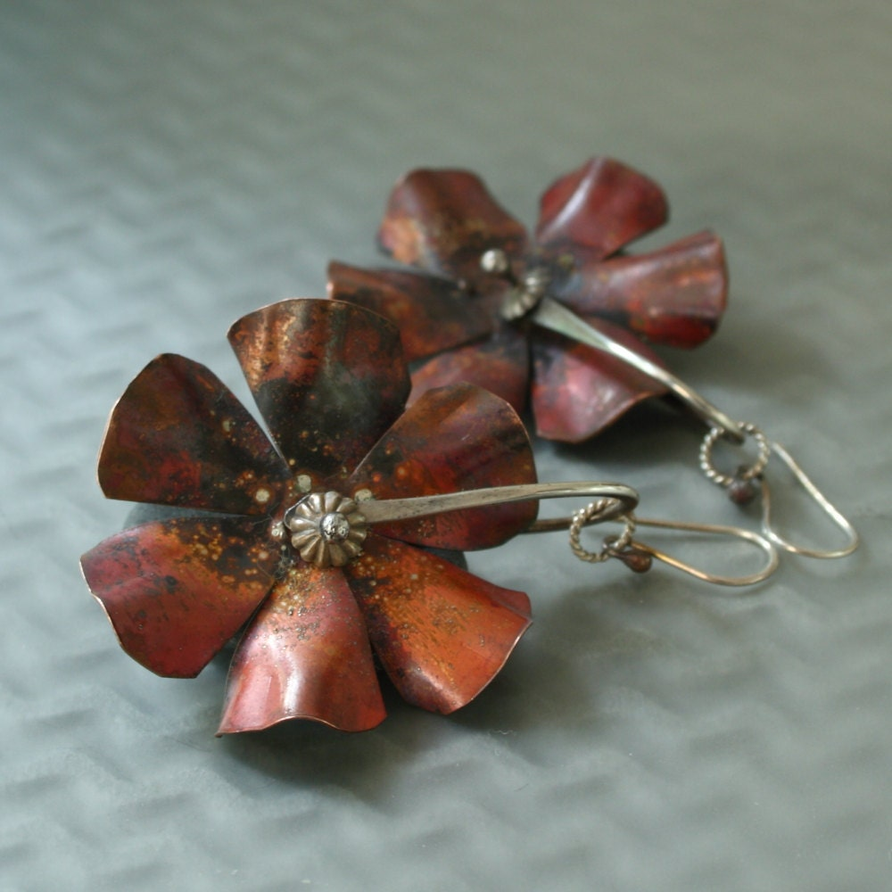 Copper Flower Spurs with Sterling - MetalLuxe