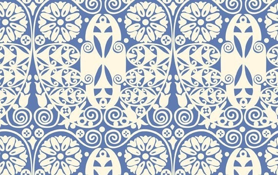 Amy Butler Soul Blossom Temple Doors Floe Blue HOME DEC fabric by the yard