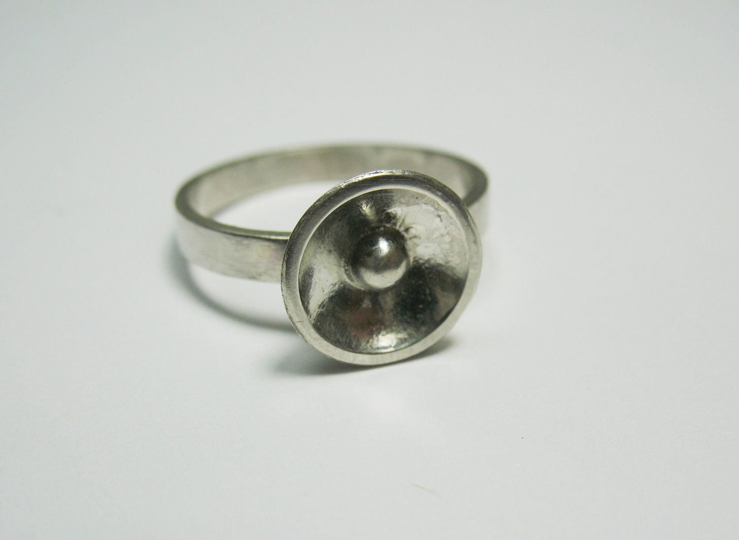 Silver Domed Disc with Granule, Circle and Ball Ring, Pea in a Pod Jewelry