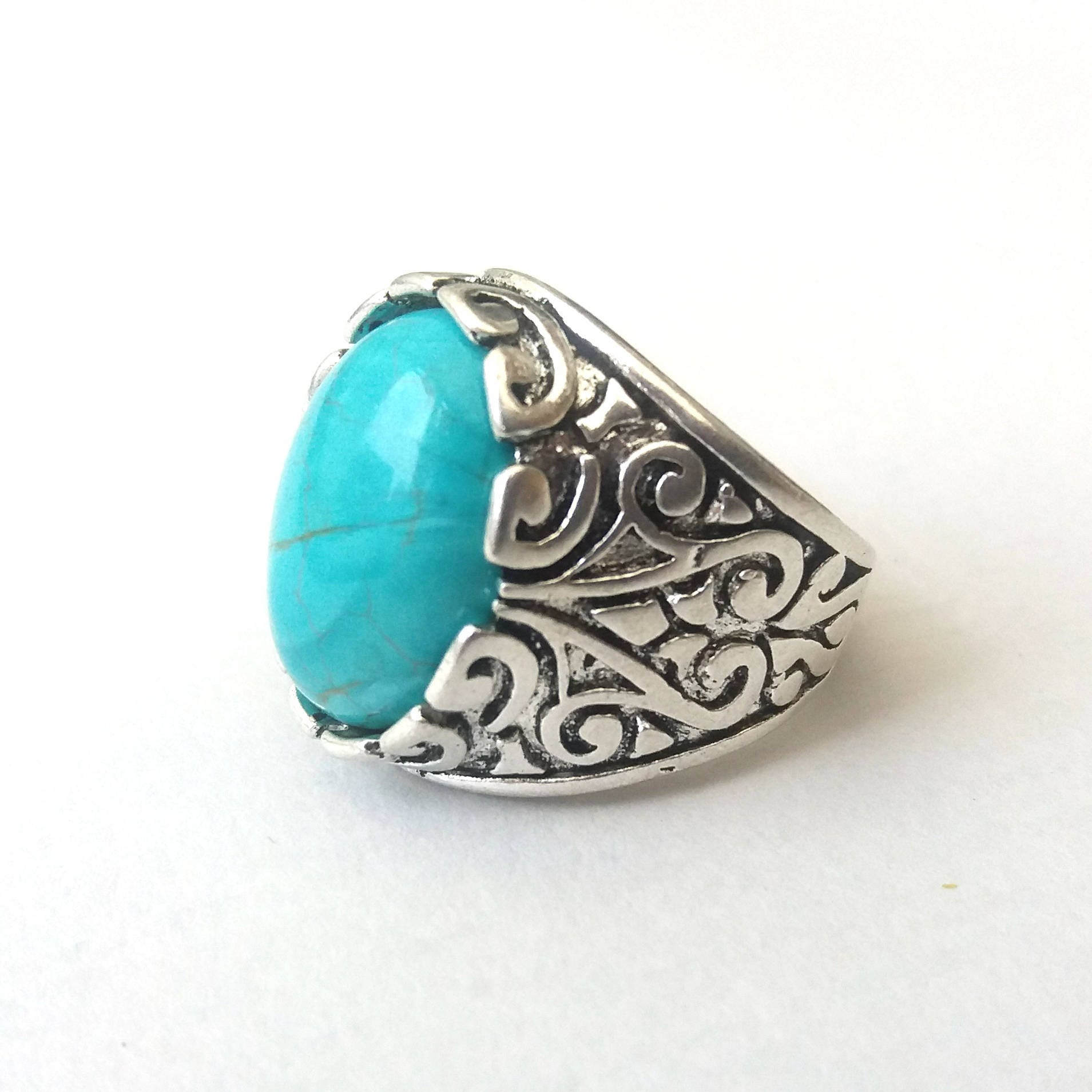 Chunky Blue Elizabethan Style Turquoise Ring Antiqued Silver Adjustable Ring Cocktail Ring Boho Ring Festival Fashion