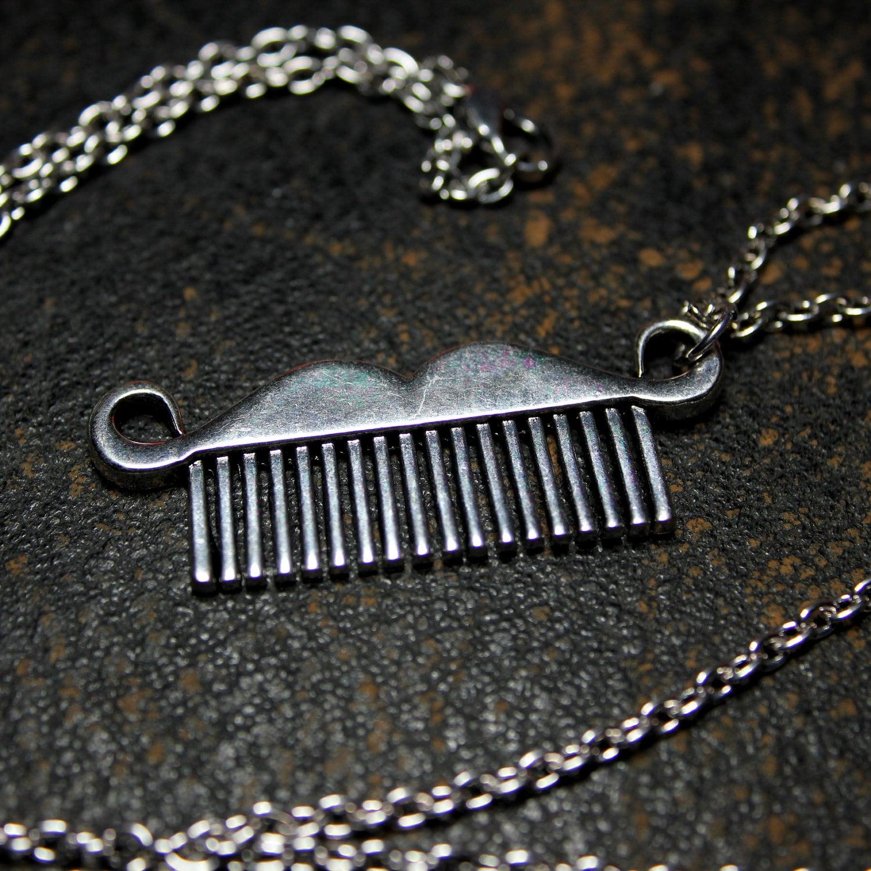 Silver Moustache Comb Necklace Metal Mustache Comb Pendant Movember