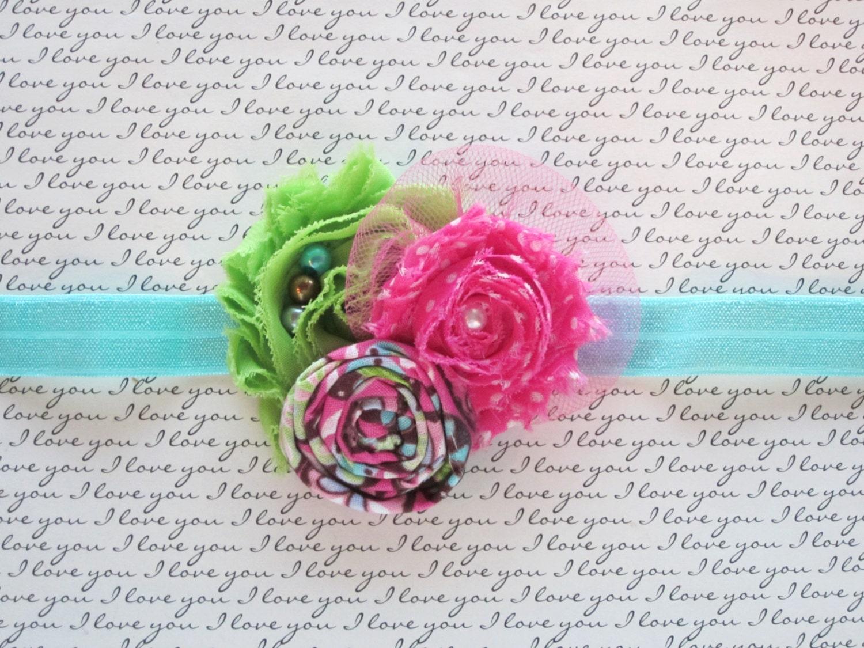 Pink and Apple Green Shabby Chiffon Newborn Headband,Baby Headband,Toddler Headband,Girls Hair Clip,Teen & Adult Hair Clip,Photo Prop! - CappyClips