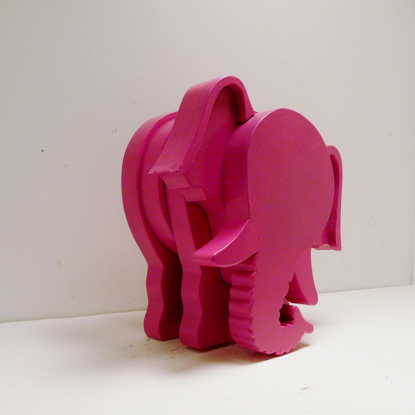Wood Elephant Figurine Hot Pink Magenta Home Decor By