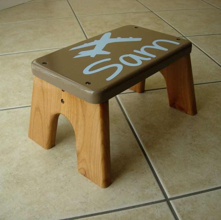 Items similar to wood step stool personalized airplane