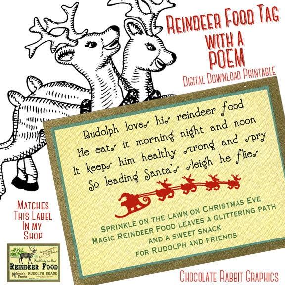 Christmas Reindeer Food Poem Tag Digital Download Printable DIY ...