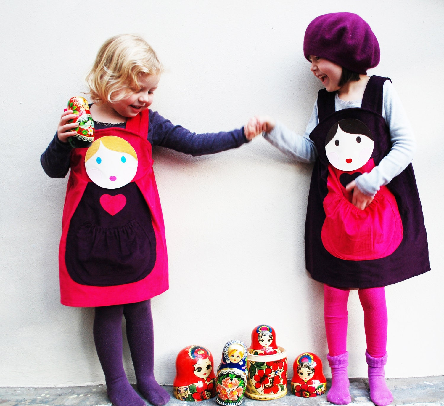 Girls Dress Russian Doll customised pinafore - wildthingsdresses
