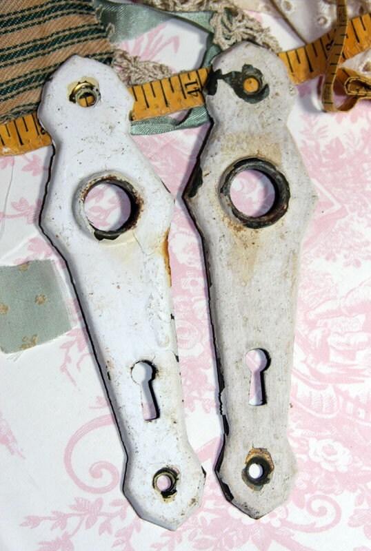 White Paint Chipped ESCUTCHEON Plates (2)
