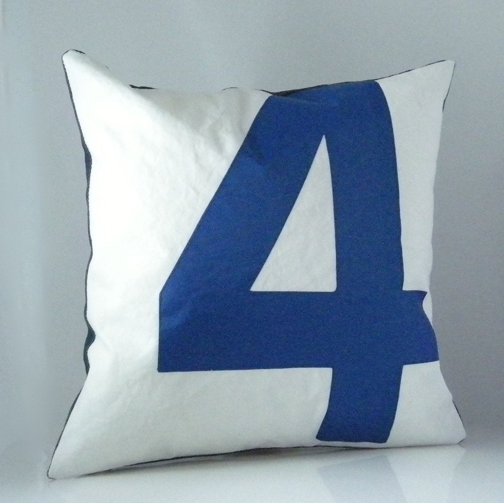 Recycled Sail Throw Pillow - Blue Number 4