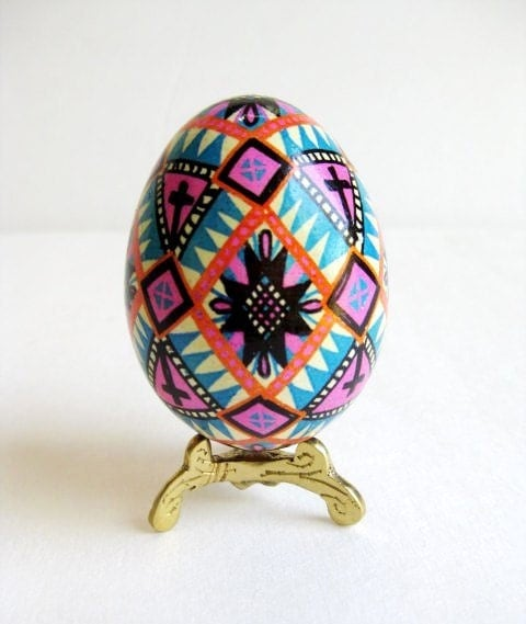 pink and blue on white pysanka ukrainian by