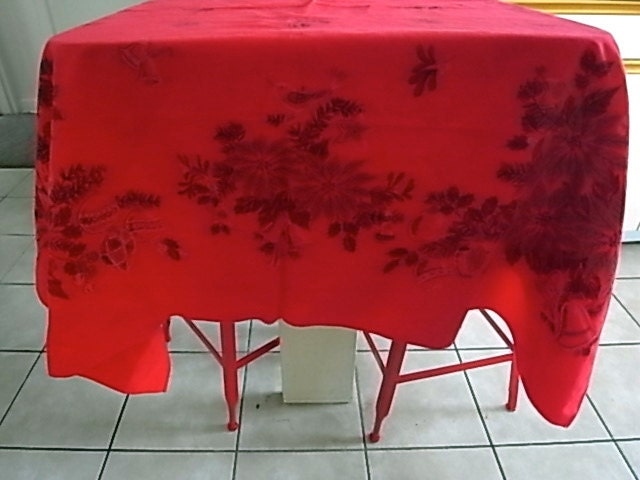 Vintage red square christmas tablecloth by yokohiyoko on etsy