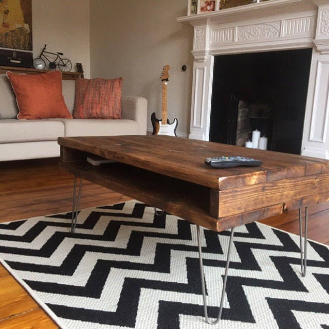 Reclaimed Pine Rustic Box Coffee Table  TV Stand Solid Wood Metal Hairpin Legs