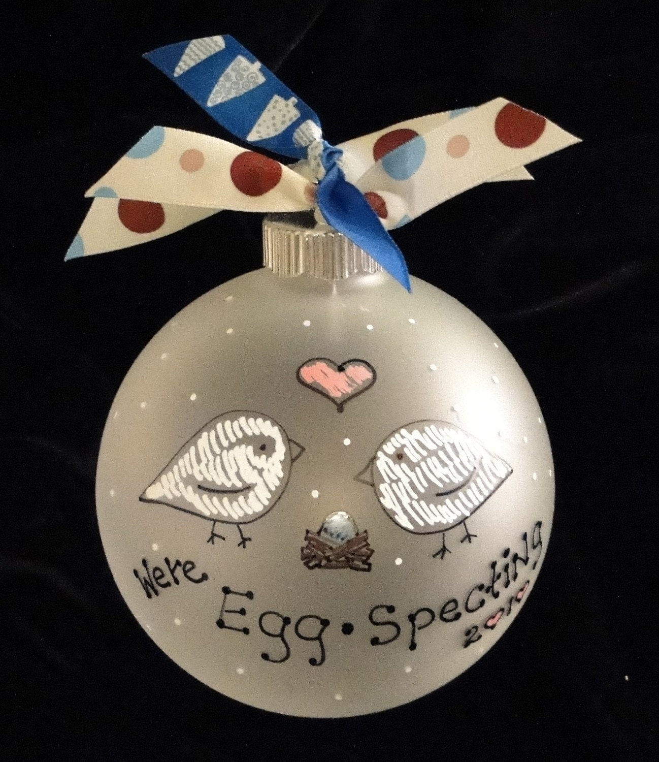 Expecting PERSONALIZED Christmas Ornament New Parents, Made to Order, LOVE BIRDS