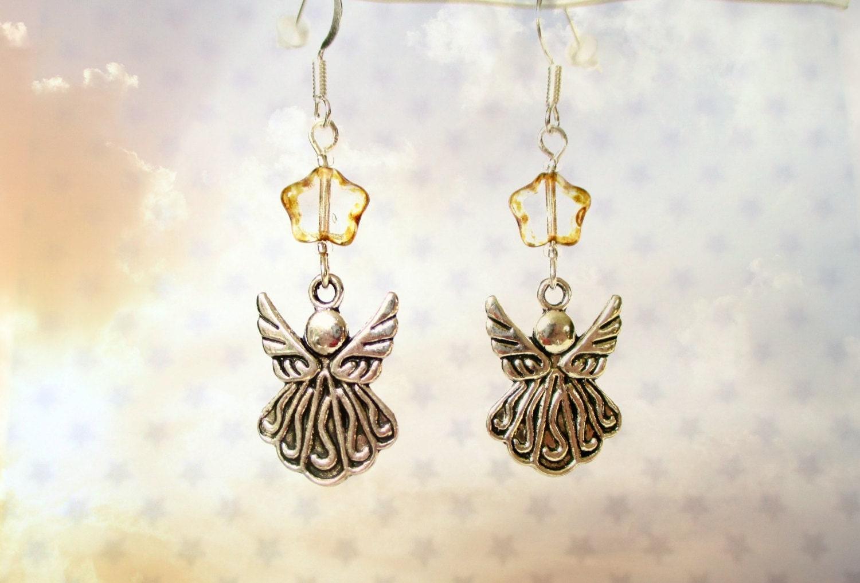 Christmas Angel earrings  Christmas earrings  Stocking filler gift  Gold star earrings  Angel jewellery  Christmas jewellery  Angels