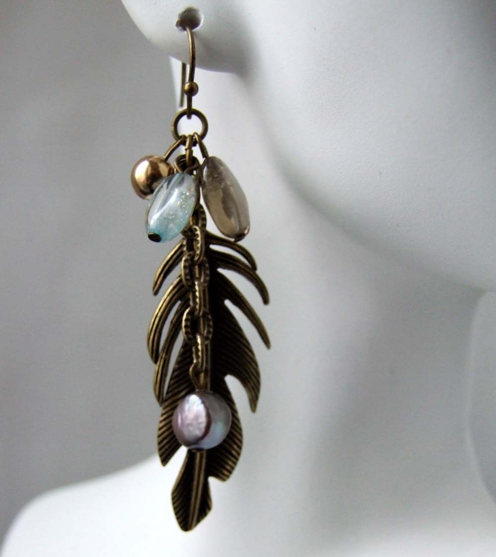 Westward Maybe - one of a kind vintage brass earrings with blue topaz, pearls and smoky topaz