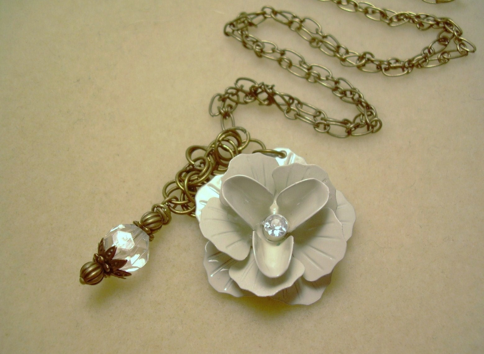 Creamy Rose and Crystal Necklace
