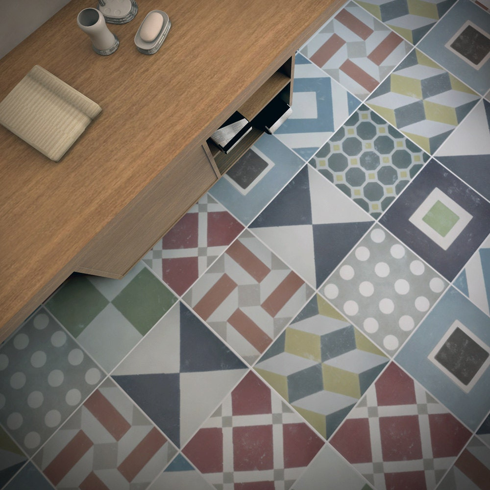 Painting vinyl floor tiles
