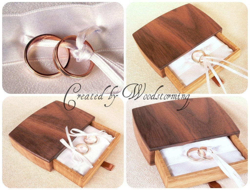Wooden handmade original walnut wedding ring box  by Woodstorming